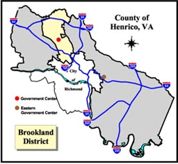 Brookland District Map, Henrico County, Virginia.