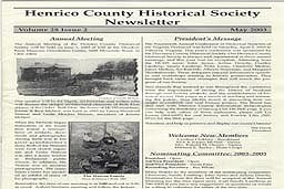 Sample Cover of a Henrico County Historical Society Newsletter