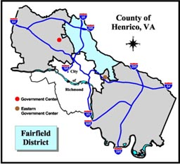 Fairfield District Map, Henrico County, Virginia.