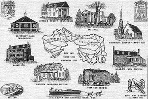 Penciled drawings of various Henrico County historic sites.