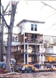 Demolition of Forest Lodge, side view, 1989.