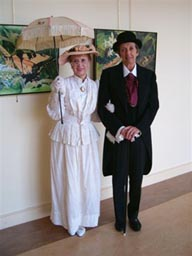 Sharon Francisco and Fran Purdum portraying Lewis Ginter and Grace Arents.