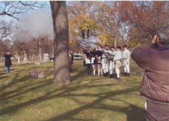 Artillery salute by Revolutionary War Reenactors at dedication of Rosehill Cemetery (Chicago, Illinois) gravesite of William Duvol, Henrico Confederate Solder.