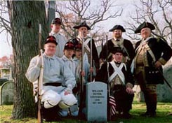 Revolutionary War Reenactors at dedication of Rosehill Cemetery (Chicago, Illinois) gravesite of William Duvol, Henrico Confederate Solder.
