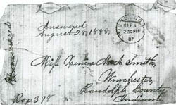 Envelope that contained 1887 letter by Hannah Jacob Weisiger.