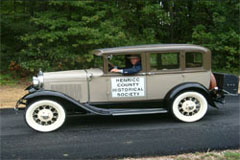 Dr. Henry Nelson in his vintage car representing HCHS in Glen Allen Day Parade.