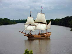 The Godspeed, seen from Meadowville Farm, navigates the James River on its way to the Citie of Henricus.