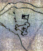 Sketch of Jamestown (Virginia) fort in 1608.