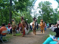 Native Americans participate in the May activities at the Citie of Henricus.