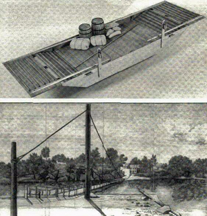 Top picture:  John H. Earl of Milford, VA, builds model boats and keeps a webpage at www.modelboatyard.com.  This photograph shows his model of an eighteenth-century ferry.  Bottom picture:  An engraving of Gray's Ferry, a typical early ferry, over the Schuykill River in Philadelphia.