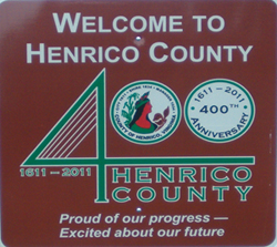 400th anniversary Henrico County welcome road sign.