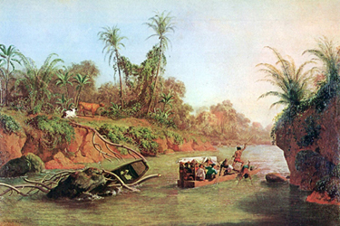 Charles Christian Nutt's Derrishmous von Panama auf der Hos de Chagres River, an 1850 oil painting showing small vessels transporting passengers up the Chagres River; one route that passengers on the Henrico would have taken in Panama's west coast on their way to San Francisco.