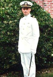 David Bellak, duty officer at the time of the USS Henrico's decommissioning, in dress wites at graduation from the legal training course in Rhode Island in summer of 1967 before joining the Hank.