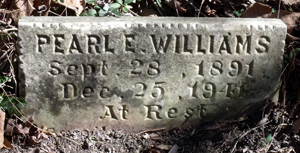 The object of a two year search - the gravestone of Mrs. Pearl E. Williams.