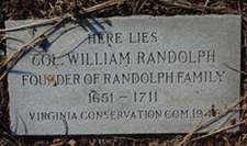 Recent gravestone marker for Colonel William Randolph.