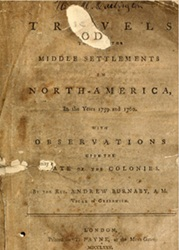 Cover of Travels to the Middle Settlements in North American in the Years 1759 and 1760.