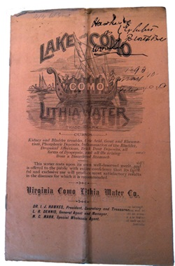 Pamphlet about Lake Como water.
