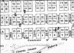 Location of courthouse in Young's 1835 map of Richmond.