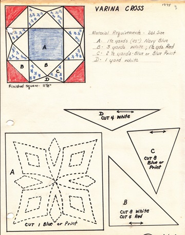 Pattern for creation of quilting sections of the quilt.