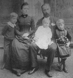 The Ruehrmund Family:  Carl Ruehrmund poses with his wife Rosa and three of their children.