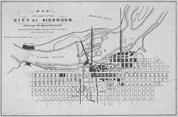 Map of Richmond, 1865.  Oriented with South to the top.  Dotted line marks approximate border of Jefferson Ward.  Arrow points to Ezekiel's boyhood Home.