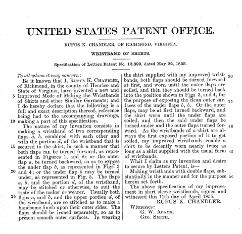 Specification of Letters Patent by Rufus K. Handler.
