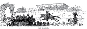 September 1875 Harper's New Monthly Magazine drawing illustrating the action in a ring tournament.