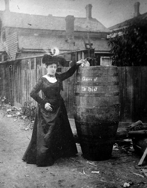 Annie Edson Taylor and her barrel.