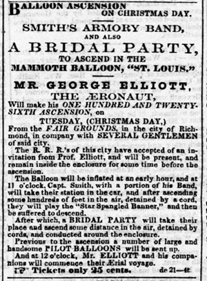Ad for an airborne wedding celebration.