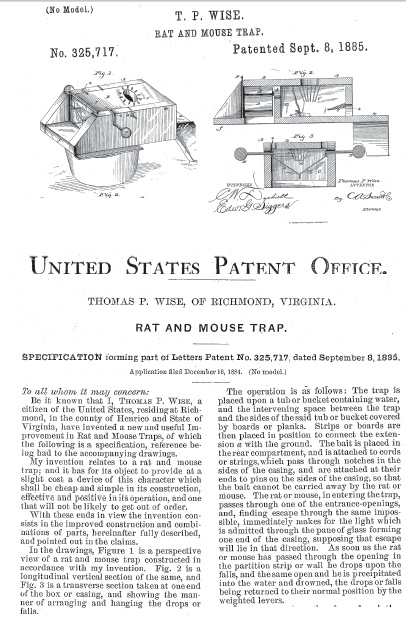 Thomas Wise's 1884 patent for his mouse trap.