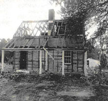 Log siding of Leake House, which was moved from Henrico County, Virginia to New Kent County, Virginia.