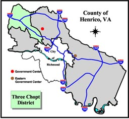 Three Chopt District Map, Henrico County, Virginia.