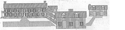 An artist's reconstruction of Curles Neck manor house in the 1700s, Varina District, Henrico County, Virginia.