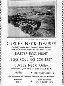 Vintage announcement of Easter egg hunt at Curles Neck Dairies in Varina District, Henrico County, Virginia.
